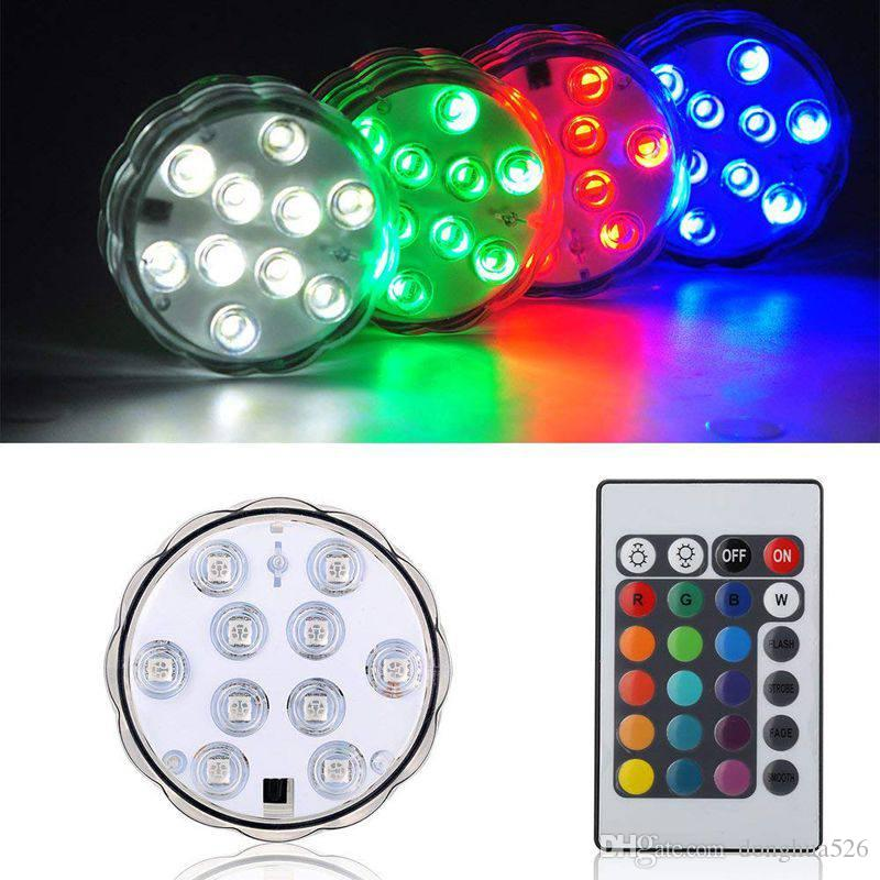 NEW Remote Control Colorful Aquarium LED Lighting Diving 10 LEDs Waterproof Underwater Electronic Candle Lighting Fish Tank Lamp