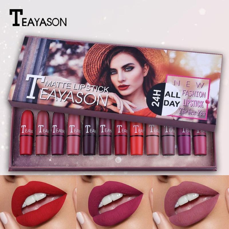 Fashion Matte And Pumpkin Color Bean Paste Lip Solid Gloss Lipstick Long Last Cosmetics lipstik Lip Solid Gloss Lipstick 12Pcs/S