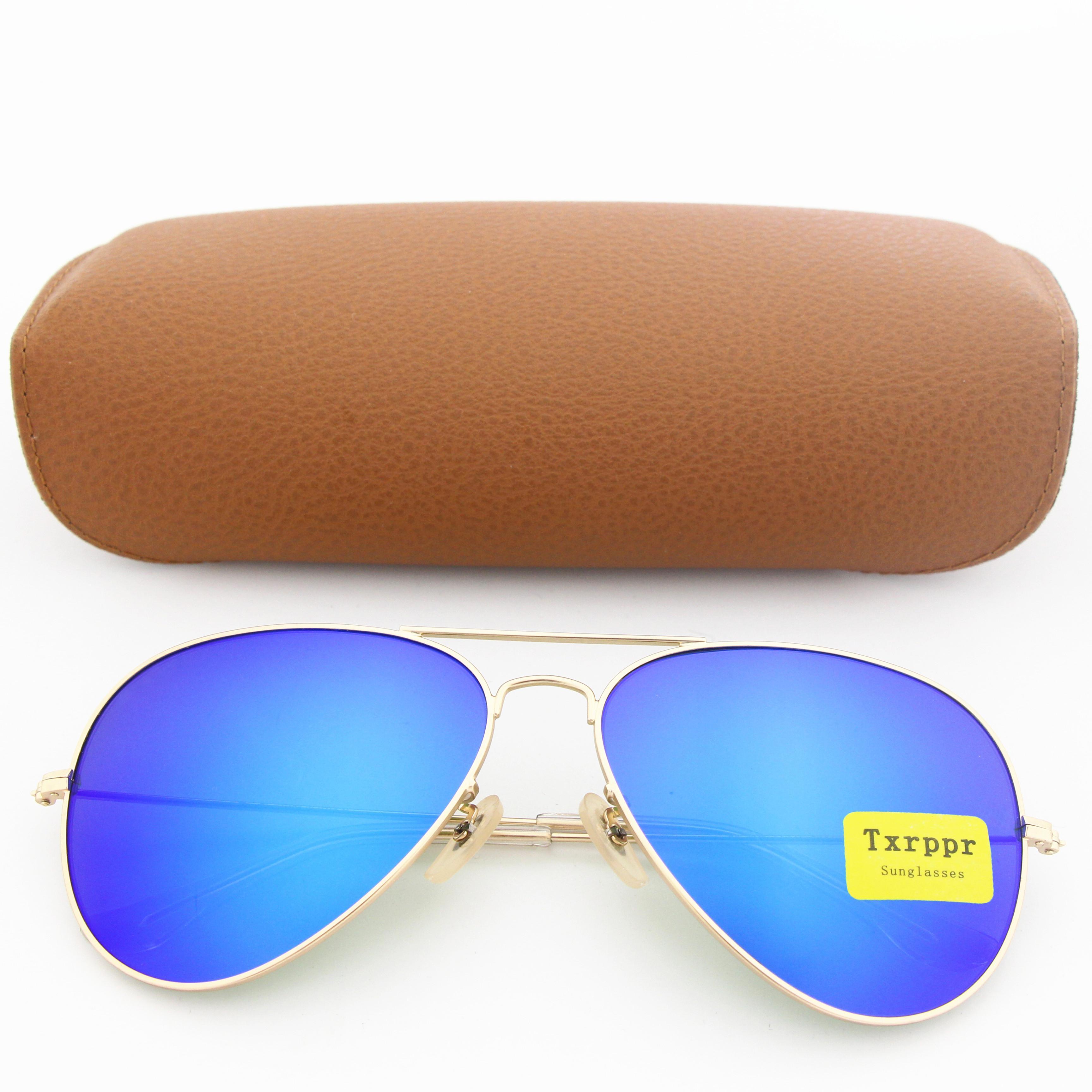 High Quality Driving Sunglasses For Men Women Vassl Sun Glasses Matte Gold Frame Blue Mirror 58mm UV400 Glasses lens with Brown Box