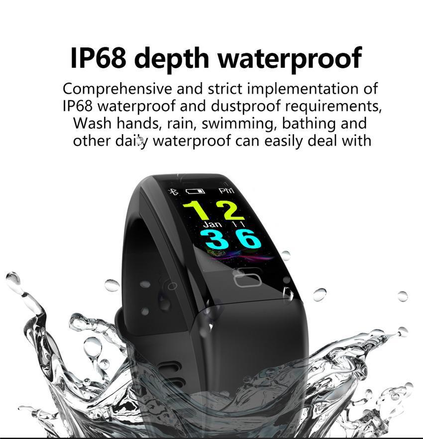 Nouvelle arrivée F07 OLED couleur écran Bluetooth intelligent bande Bracelet IP68 étanche Swim Fréquence cardiaque Smartwatch Fitness Regarder pour Android iOS