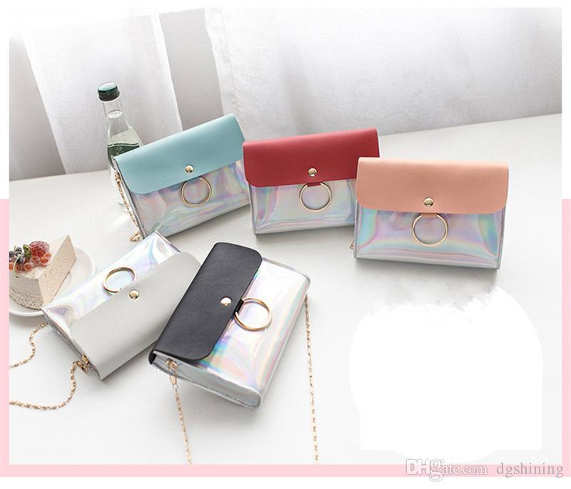 Bolsos de hombro de las mujeres de la PU pequeño cuadrado Bolsas Pequeño Crossbody del hombro del mensajero del bolso láser Señora femenina del bolso del teléfono celular Bolsas de DHL