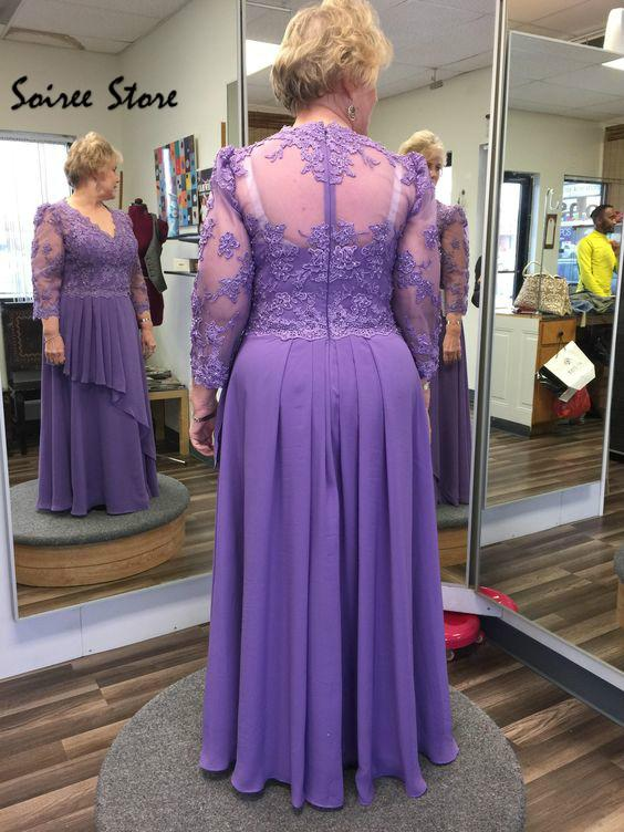 lilac Cheap Mother Of The Bride Dresses Plus Size Lilac Floor Length Chiffon Party Gowns Sexy V Neck Long Sleeves Groom Mom Skirts 2020