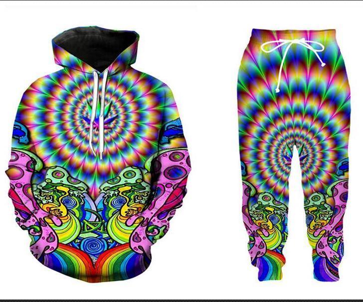 Los nuevos hombres / mujeres de hipnosis trippy divertido 3D impresión de la moda chándales Crewneck y pantalones 2 piezas Set sudaderas TT036