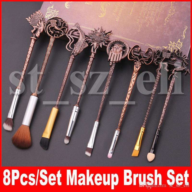 Set di pennelli per trucco di moda stile 8 pezzi / set Ombretto per fondotinta in polvere Make Up Pennelli cosmetici con sacchetto