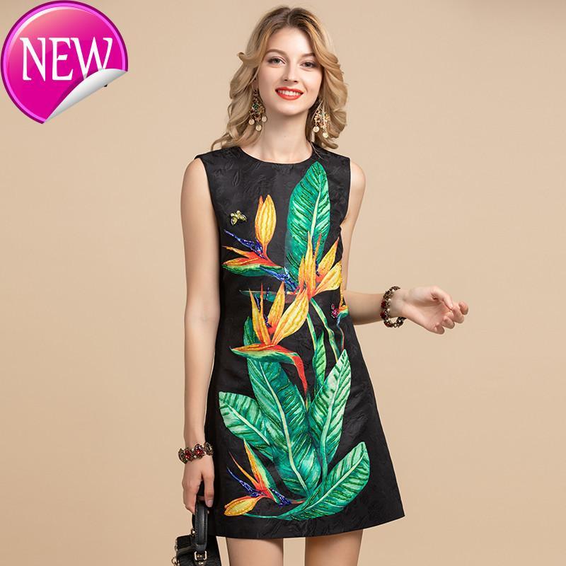 Modo di alta qualità donna del design Summer Dress Vintage senza maniche con stampa floreale di cristallo che borda A-Line Mini abiti corti