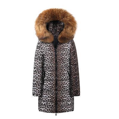 Womens Designer Langer Daunenmantel Mode-Leopard-Muster Thick-Jacken beiläufiger Druck Frauen Winter-Pelz-Kragen mit Kapuze Kleidung 7 Styles