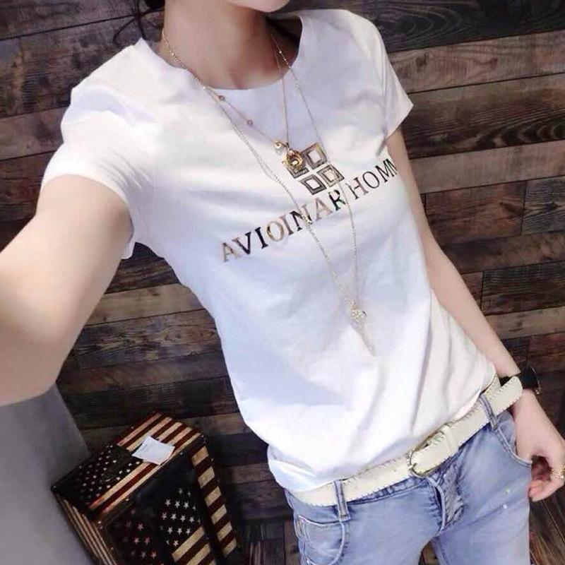 Frauen nehmen und schlank vielseitig Baumwolle Baumwolle T- Größe vielseitig Basis Shirt Kurzarm-T-Shirt ins Mode