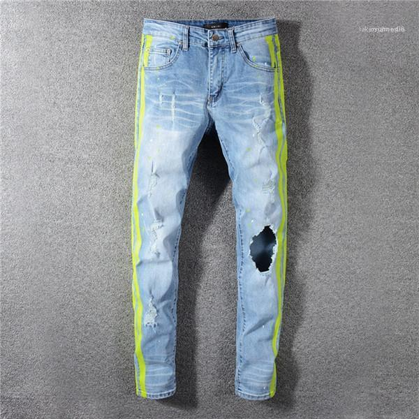 Mens Fashion Summer Designer Hole Jeans Hip Hop Style Homme Clothing Solid Color Straight Pants Fashion Casual Apparel