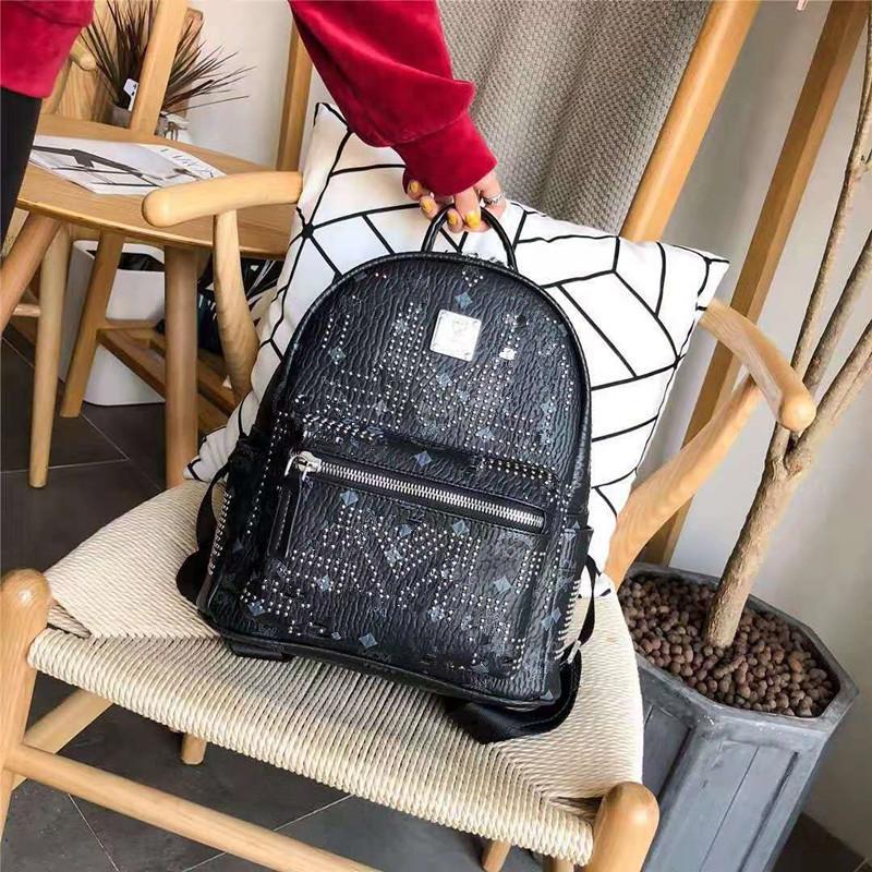 The New Bag Lady Handbags Backpack Women's Leather Han Edition Fashion Large Capacity Female Rivet Frills Backpack A Designer Shoulder