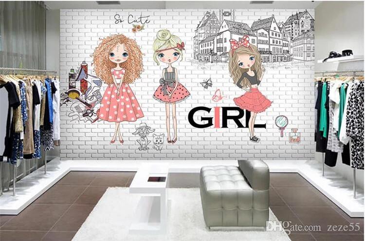 Custom wallpaper for walls 3 d Large Photo Wallpaper Urban Fashion Girl Tooling Wall papel de parede papier peint