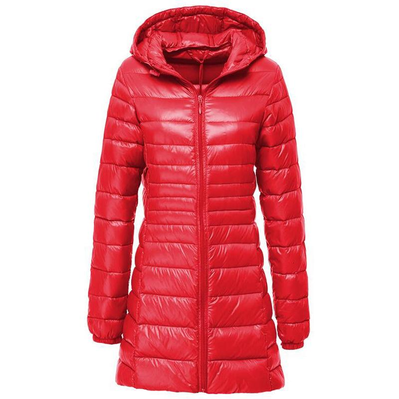 Plus Size S-7XL Jacket Women Spring Autumn Winter Warm Duck Coats Women's Long Hooded Thin Lightweight Jackets Lady Down Clothes Y190926