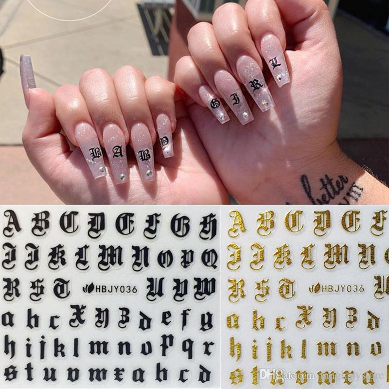 Puede mezclar el diseño de uñas pegatinas Decal letras del alfabeto herramienta Nails Art 3D Blanco Negro Oro Acrílico