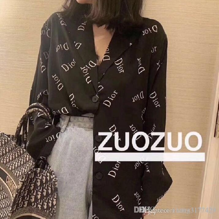 The new spring women's dress, the fashion all goes with the web celebrity women's long sleeve shirt.Monogram printing, trendy