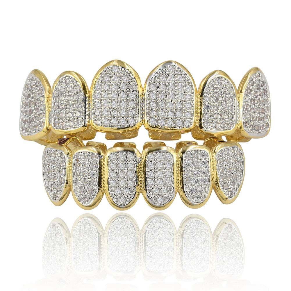 Diamond Braces Vampire Teeth Hip Hop Personality Fangs Teeth Gold Silver Teeth Women&men Dental Grills Jewelry
