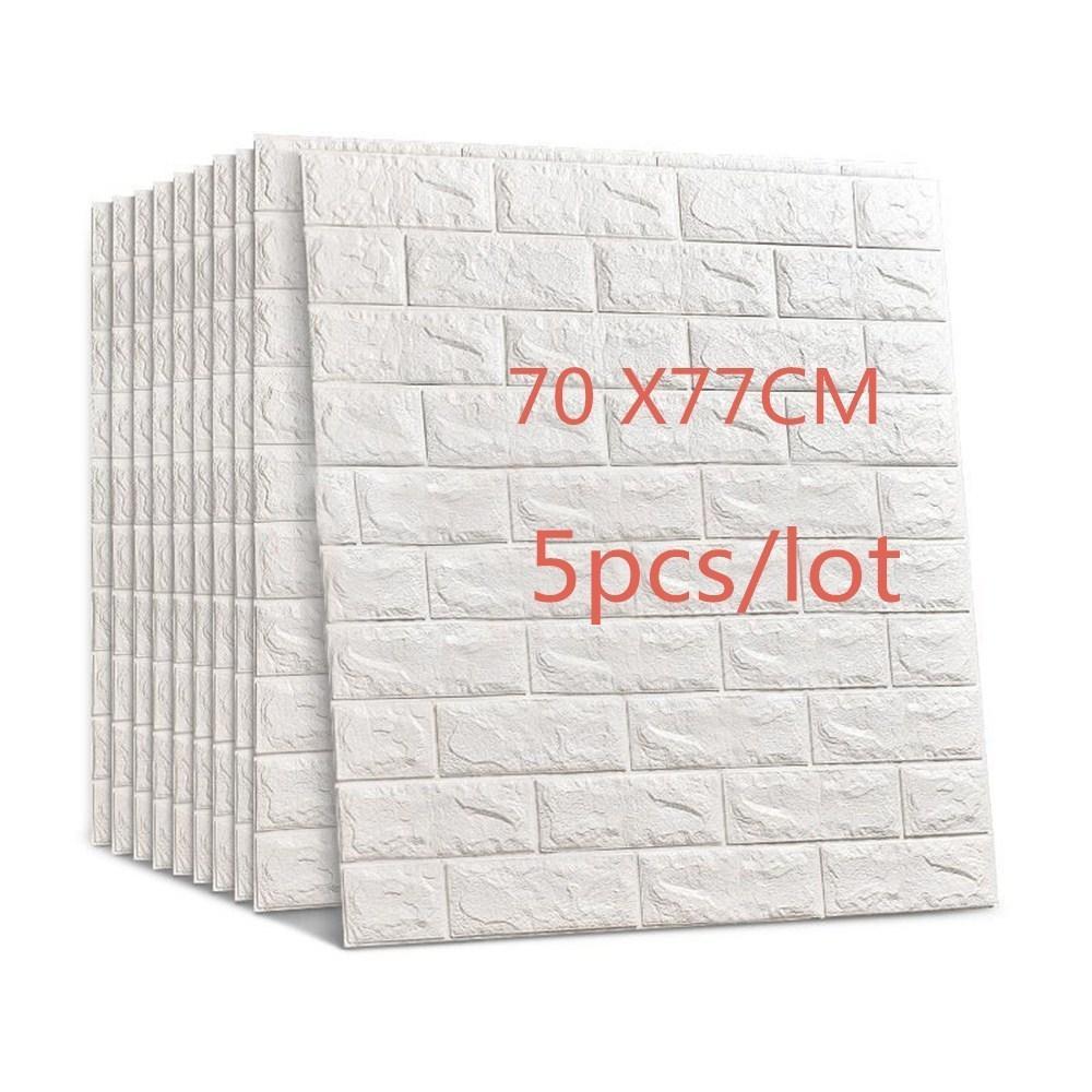 77x70cm 5pcs 3d pared de ladrillo etiquetas engomadas DIY del auto adherente decoración de espuma sintética impermeable Antecedentes decoración de paredes Papel pintado de los niños Sala Q190416