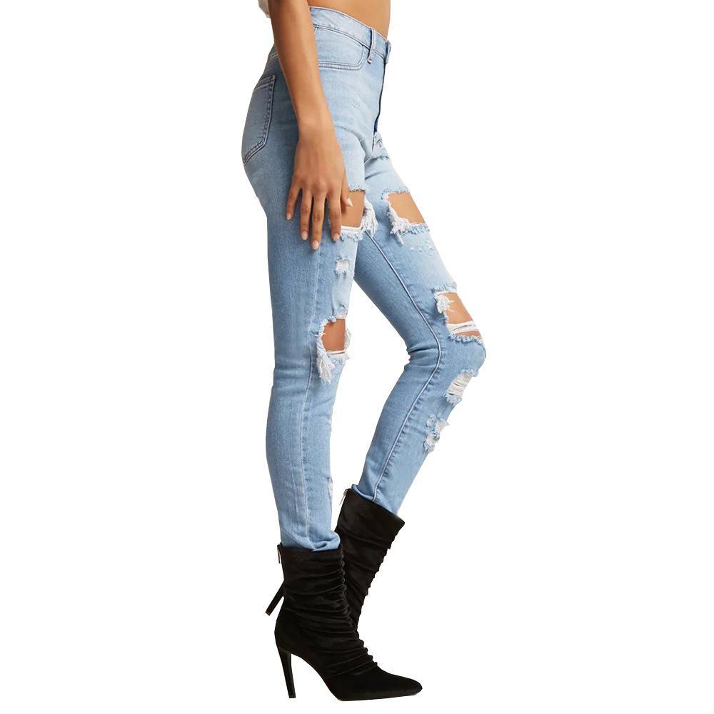Nuove donne Skinny jeans del foro Destroyed strappati, pantaloni Distressed Jeans aderenti sexy matita slim fit pantaloni jeans vestiti delle donne di trasporto di goccia