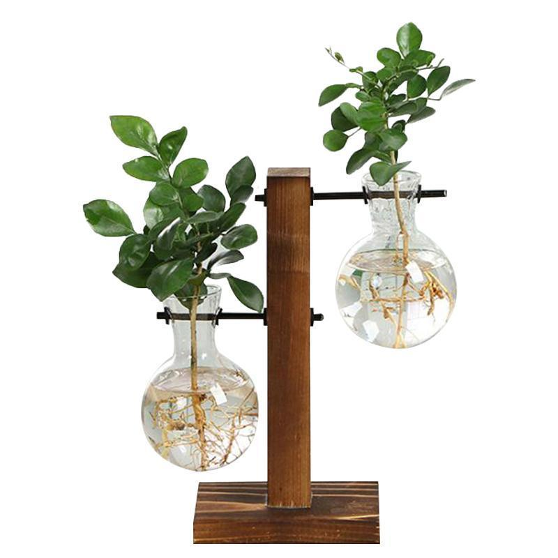 Terrarium Hydroponic Plant Vases Vintage Flower Pot Transparent Vase Wooden Frame Glass Table Plants Home Bonsai Decor
