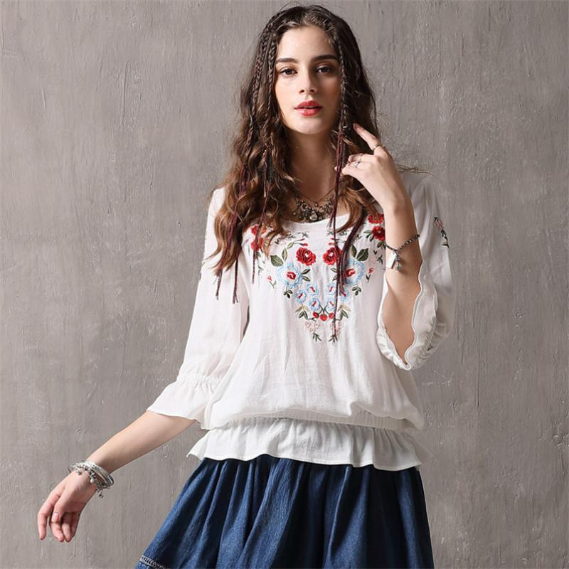 Spring 100% Cotton Women Loose Blouses Shirts 2020 Vintage Blusas O-Neck Flare Sleeve Floral Embroidery White Women's Shirt 9260