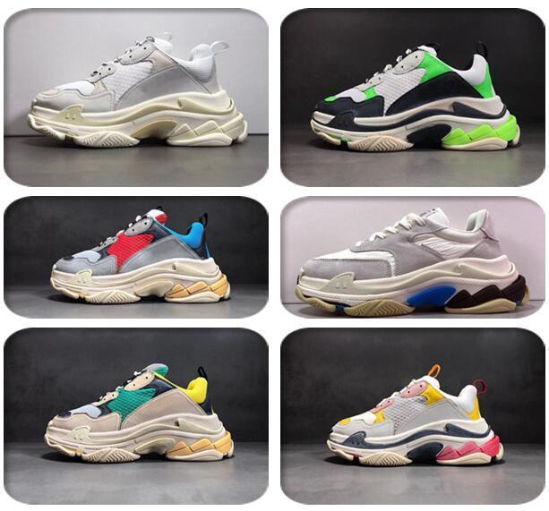 2019 Moda Paris 17FW Üçlü S Sneakers Casual Baba Erkek Tasarımcı Ayakkabı Kombinasyon Taban Spor Erkek Eğitmenler Chaussures Sne4022 # Triple-S