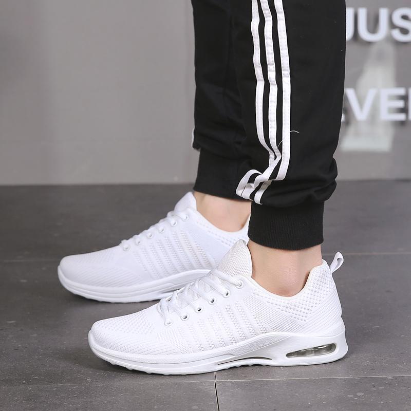 White Men Running Shoes Shoes Luz Amortecimento Esportes respirável Weaving Masculino sapatilhas frescas Preto Jogging Eur Tamanho 36-45