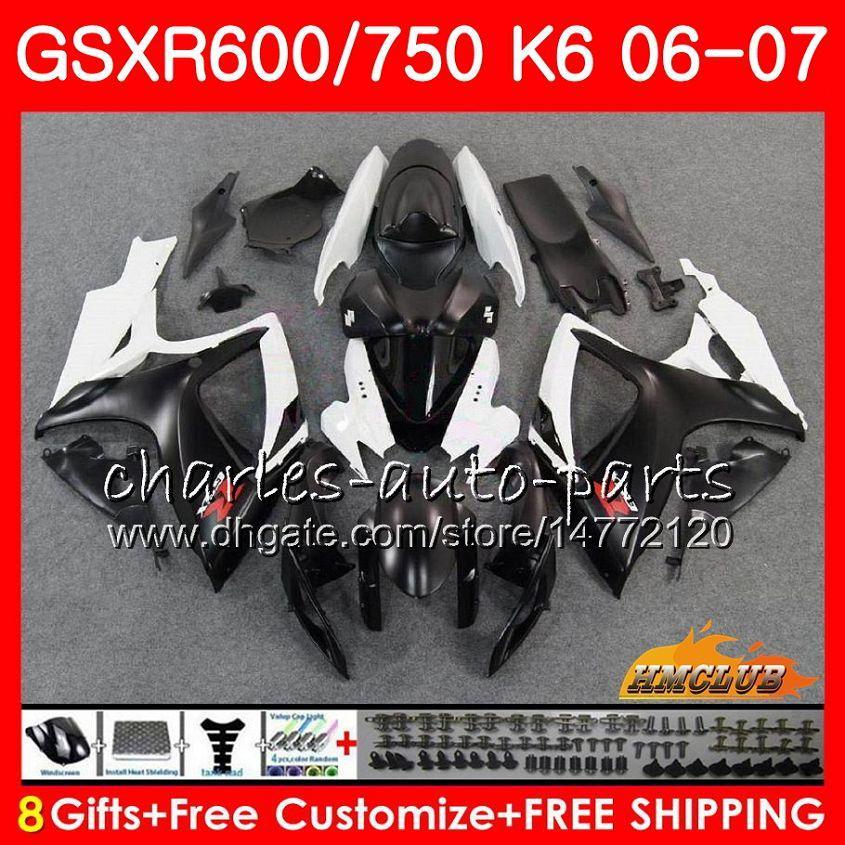 Corpo per Suzuki GSX R750 GSX R600 GSXR 600 750 GSXR750 06-07 8HC.55 GSXR-750 Vendita calda nera GSX-R600 K6 GSXR600 06 07 2006 Kit carenatura 2007