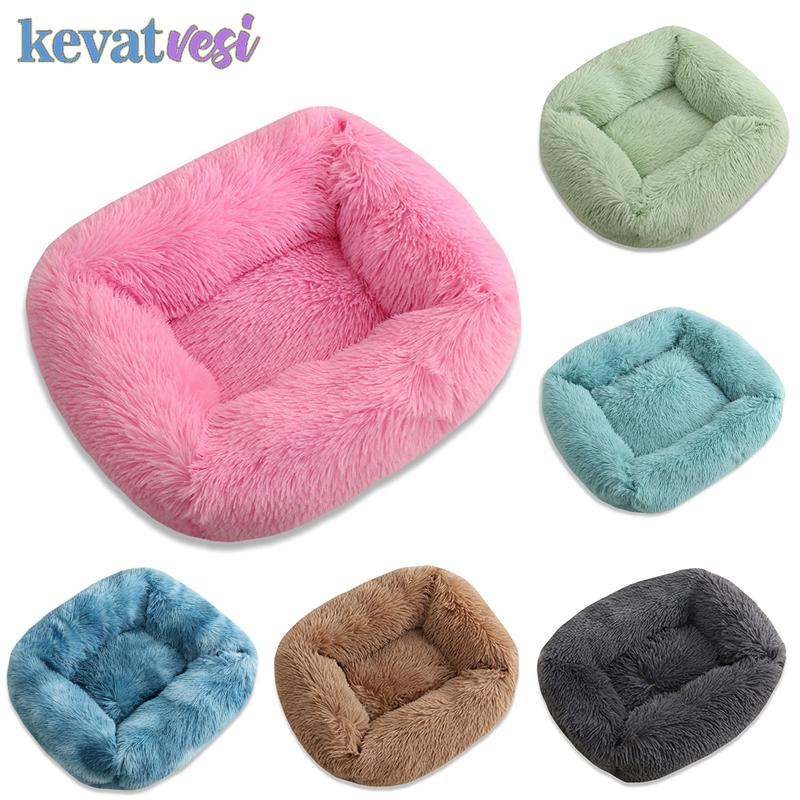 Dog Bed Sofa Long Plush Dog Cat Bed House Warm Colorful Kennel Square Mat Waterproof Breathable Pet Kitten Sleeping Cushion