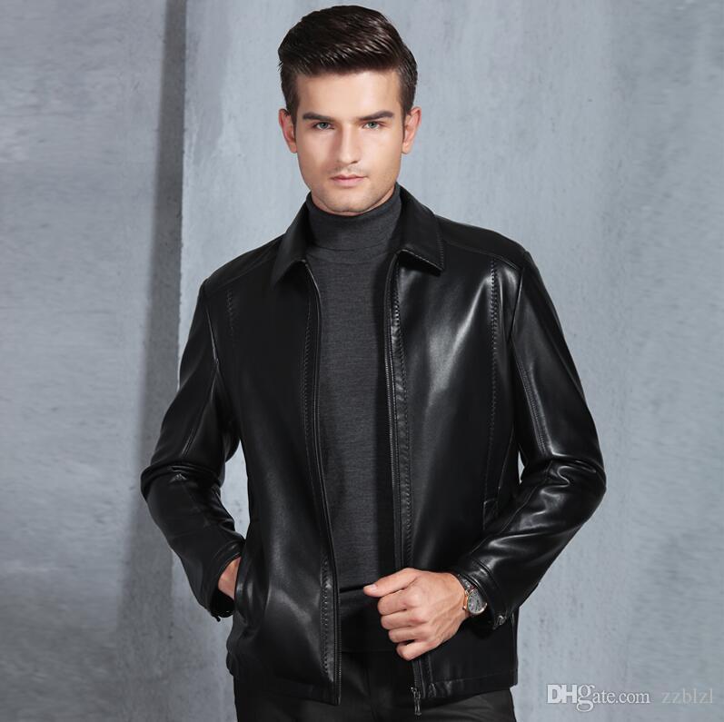 breve cuoio casuale giacca di pelle PU maschile inverno e l'autunno di mezza età a rendere l'uomo magro magro Mostra di buona qualità mascolinità