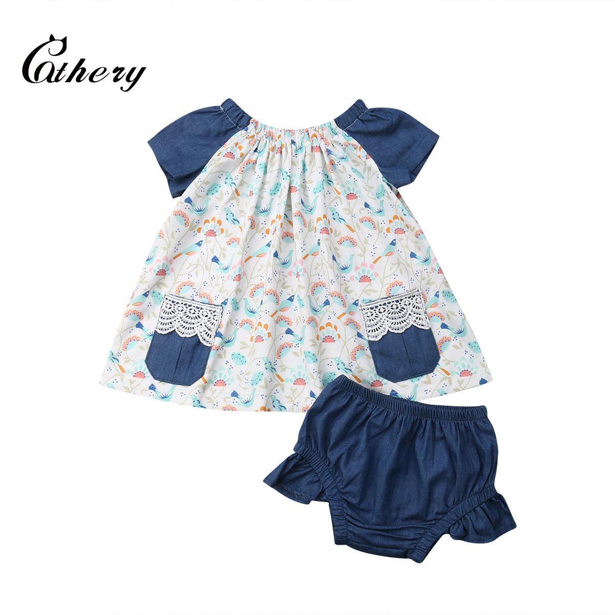 Милый малыш ребенок малыш девушка хлопчатобумажная одежда с коротким рукавом рябить блузка топы+короткие брюки 2шт наряды набор