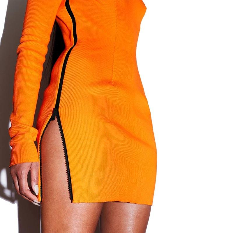 Casual Dresses Orange Side Zipper Skinny Dress Women Clothing Bodycon Knitted Party Zippers Mini Vestidos Long Sleeve Ribbed
