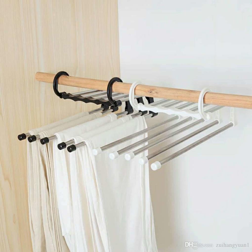 متعددة الوظائف سروال خزانة شماعات خمسة في رفوف واحد بنطلون شماعات الملابس التجفيف الرفوف المحمولة تقف