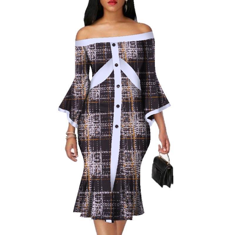2019 новое платье на запястье с косой шеей, африканский базин, хлопок Mid-платье Dashiki с африканским принтом, платья для женщин длиной до колен 5xl WY3067