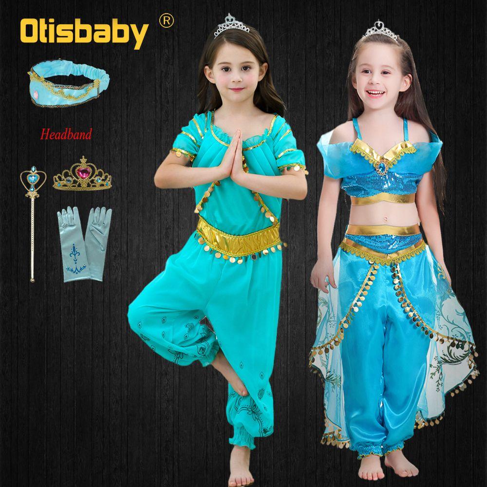 2020 2019 Halloween Party Kids Princess Jasmine Cosplay Costume