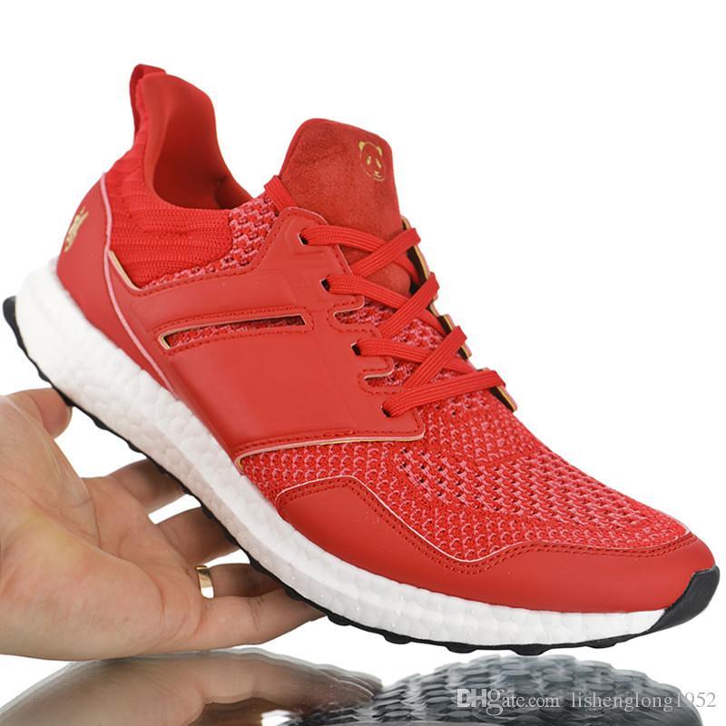 2019 Ano do panda de Alta Qualidade Eddie Huang x sapatos Ultra Boost 4.0 Sapatos CNY fu Sorte Cor Vermelha Ano Novo Chinês tamanho 40-45