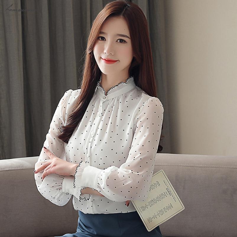 Les femmes Chemisier en mousseline de soie Mode 2019 manches longues en mousseline de soie Puff stand cou Lady Shirt Motif Dot Dot Polka Lady Chemisier 50