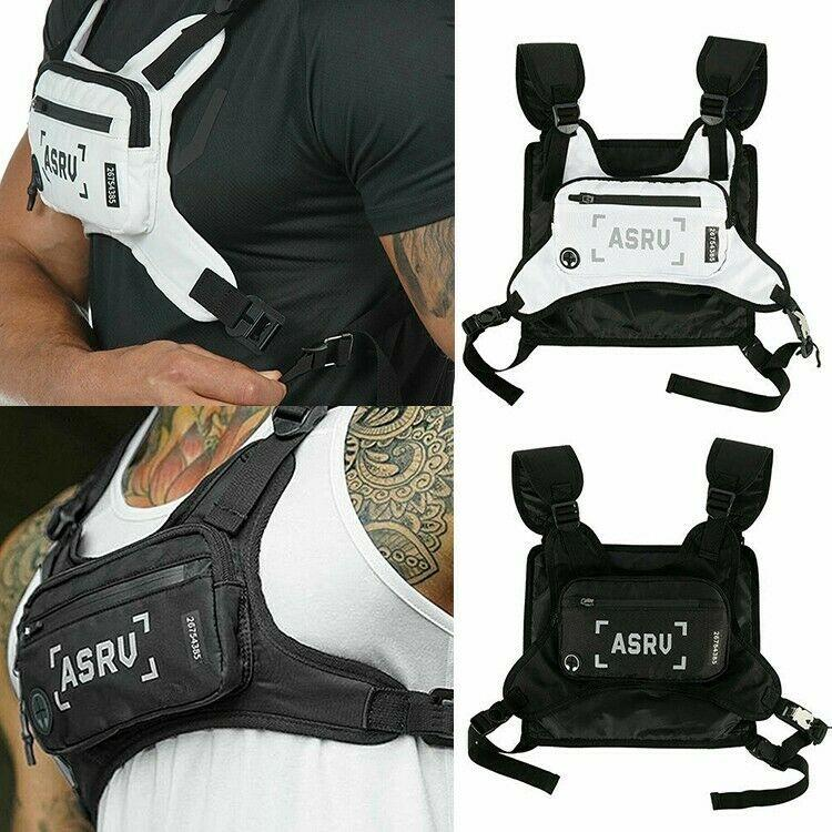 Tactical Backpack Men Chest Bag Multifunctional Tactical Pack Men Sports Pouch Reflective Strip Vest Backpack Chest Bag