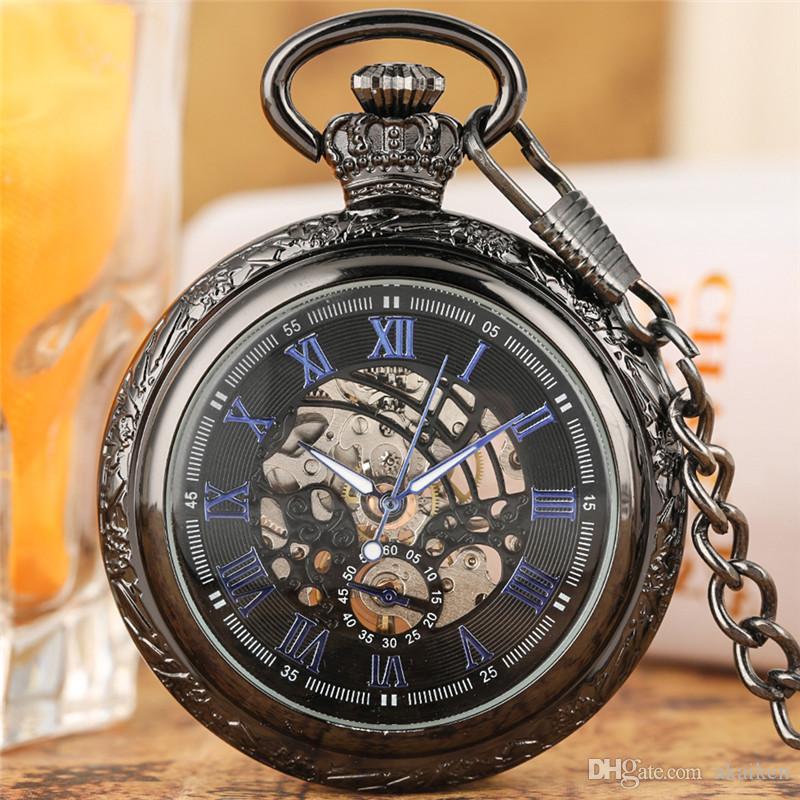 Plata clásicos de la antigüedad / Negro / Bronce reloj de bolsillo del número romano de línea regalo de la cadena Hombres Mujeres viento de la mano mecánica del reloj pendat FOB