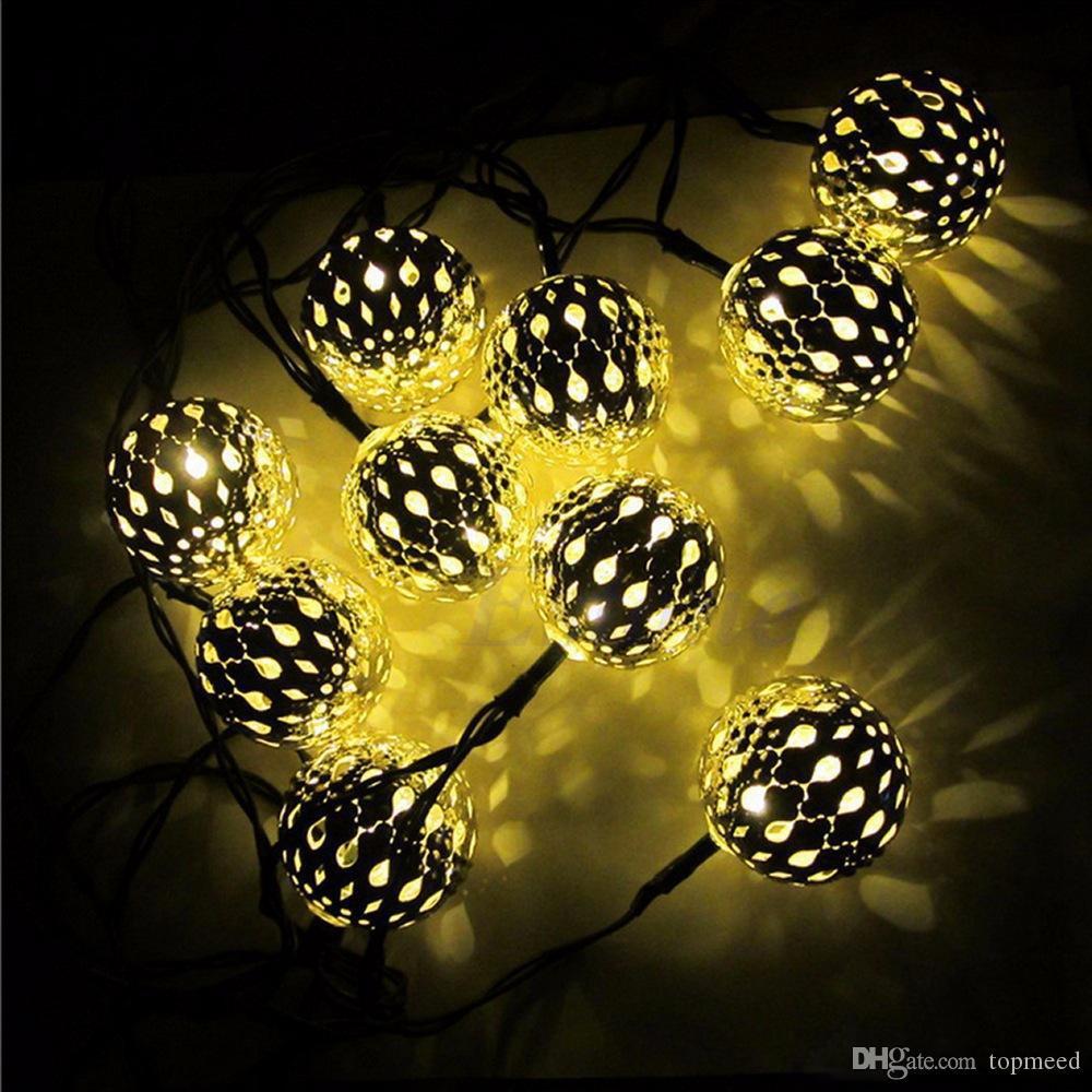 Super lumineux blanc chaud 10 balles / Set LED marocaine de lumières LED Guirlande lumineuse extérieure Décoration de Noël Lampe LED Powered
