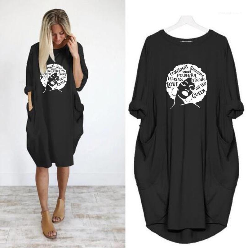 Loose lambrissés Femmes Robes Casual Pocket Pull à manches longues Vêtements pour femmes Figure Imprimer Womens Robes Casual