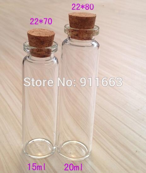 15ml ve 20ml Flakon! 20mm Açılış! 100pcs / lot, 20 mm tıpa ile! Berrak renkli cam şişeler, cam şişeler