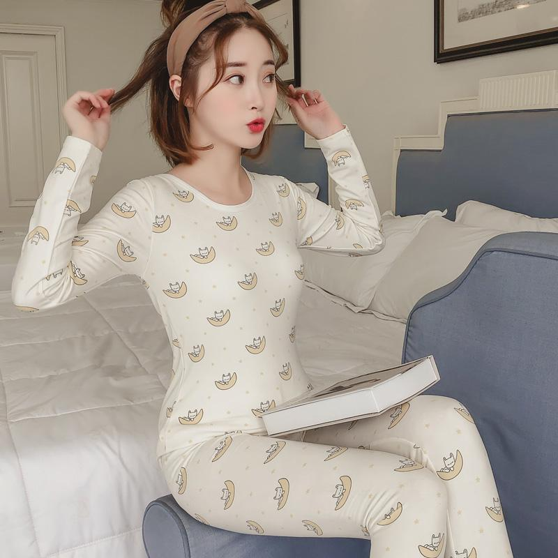 Winter Women Pajamas Sets Long Sleeve Suit Cartoon Girls Sexy Sleepwear Women's Pijamas Suit Home Clothes Warm Pyjama 5104#