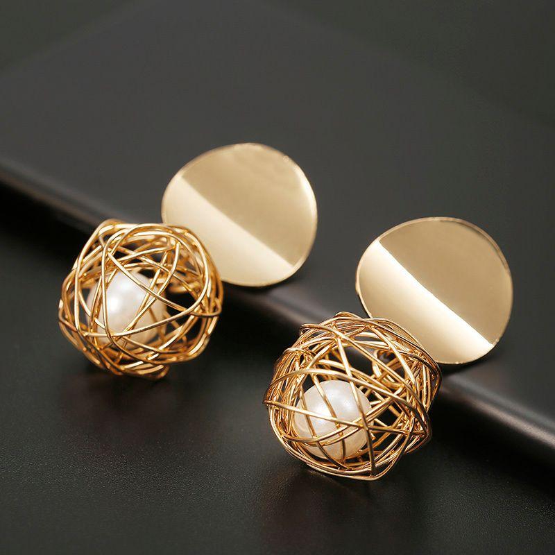 Nuovi giocattoli Prigioniero Bolt Mode per le donne di colore oro ruota geometrica orecchino a sfera per i gioielli del presente regalo di nozze sentito attaccato
