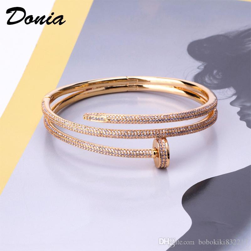 Donia gioielli partito europeo e americano serie Cardi moda grosso chiodo micro intarsiati braccialetto di compleanno delle donne Zirconia Bracciale di Natale