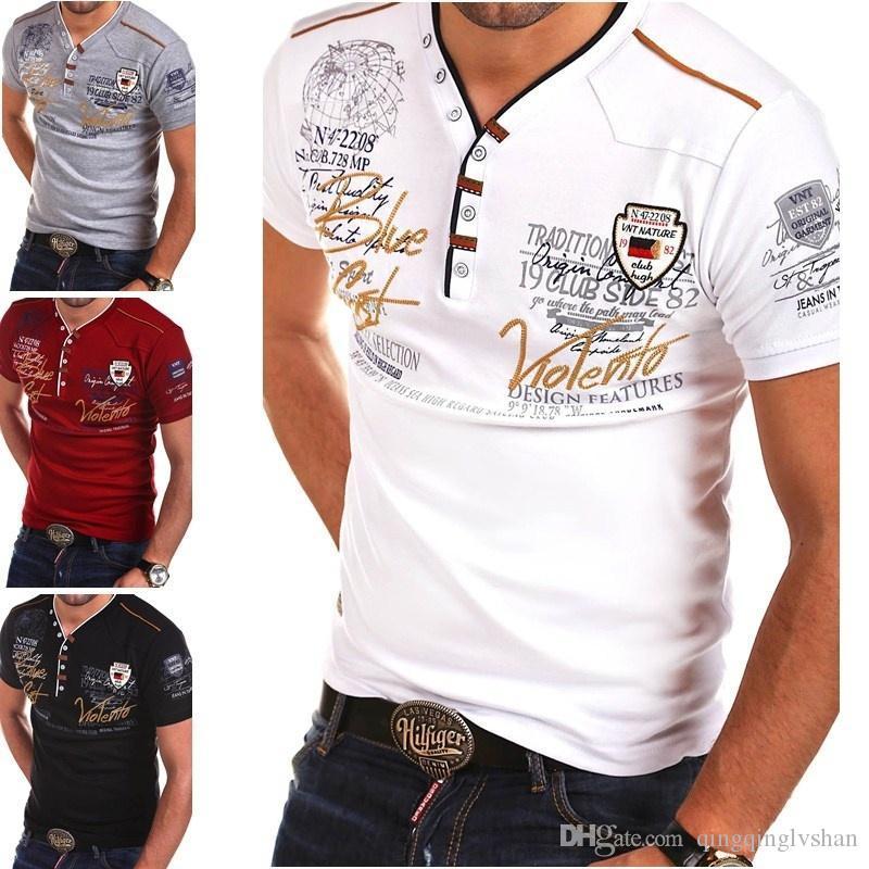 2019 Mens Verão shirt camisas manga curta Moda V-neck de algodão homens Slim Fit Tops Casual Masculino camisa estampada Tees