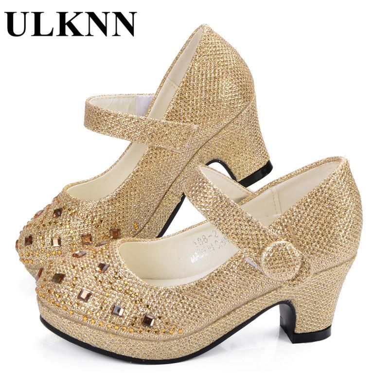 Ulknn Girl Shoes For Kids High Heel Platforms Leather Rhinestones Party Dress Children Shoes Kids Suit Soft Insole Silver Gold MX190727