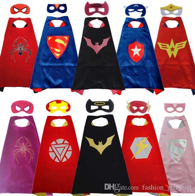 Двусторонние супергерои накидки и маски для детей Высококачественные детские накидки из мультфильма косплей ну вечеринку хэллоуин костюмы