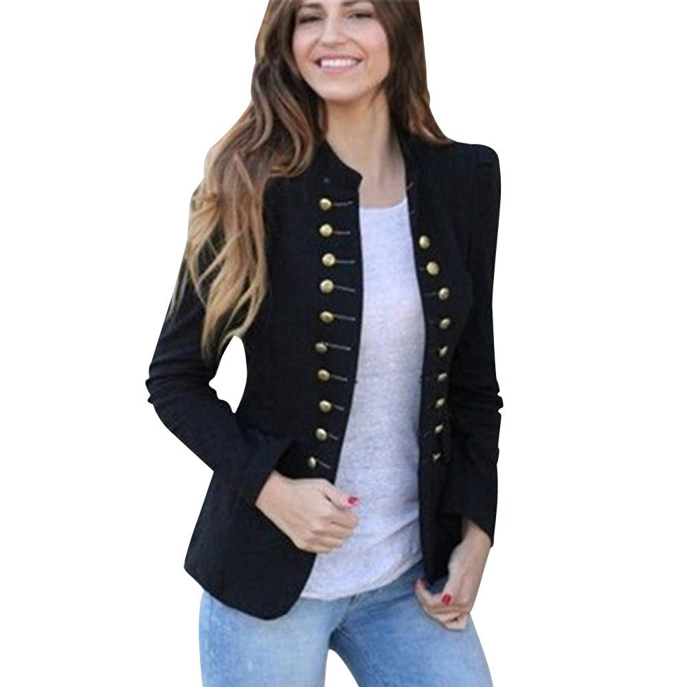 mulheres Punk terno blazer Tailcoat Vintage Jacket Overcoat Outwear uniformes Botões Brasão d90709 paletó