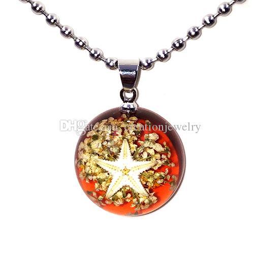 Moda parlayan denizyıldızı çiçek speicimen amber kolye aydınlık moda reçine kadın severler kolye yuvarlak kolye zincirleri ile mix renkler