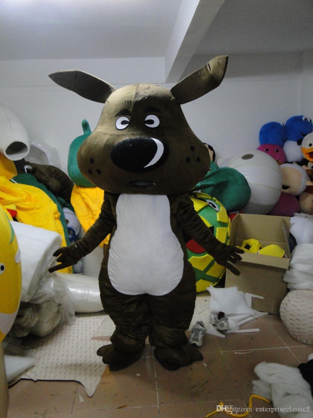 Siyah Köpek Maskot Kostümleri Animasyonlu tema Hayvan Cospaly Karikatür maskot Karakter Cadılar Bayramı Karnaval parti Kostüm