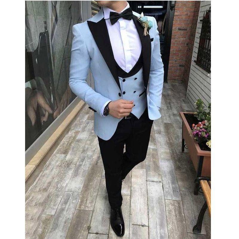 Bleu ciel smokings marié Costume Handsome Trim Fit Prom mariage Smokings hommes costumes pour mariage Peaked Lapel Veste de costume Pantalon Groomsmen Gilet