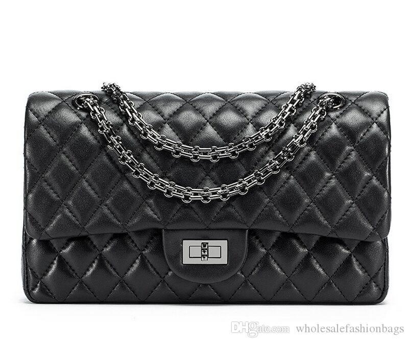 marca Hotsale donne nuove superba qualità genuina pelle d'agnello catena in argento lembo borsa 26 centimetri spalla borsa del Tote del DD03